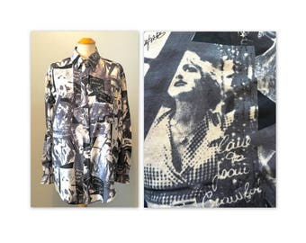 Vintage 90s Silk Blouse Shirt M with Autographed Photos of Hollywood Legends in Black and White