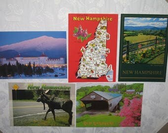 Set of 5 Scenic Photo Postcards of New Hampshire