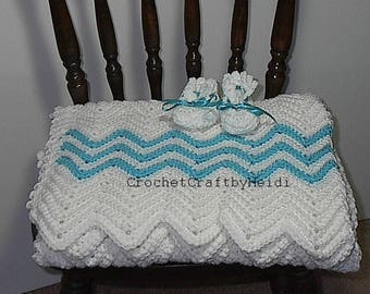 Baby Shower Gift White/Turquoise Crocheted Baby Afghan Blanket and Booties