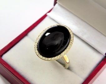 AAAA Black Onyx 18 x 13mm  12.30 Carats   14K Yellow gold Diamond halo cabochon ring. 1525