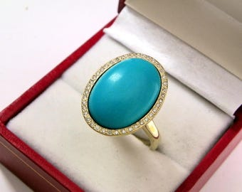 AAAA Turquoise 18 x 13mm  9.14 Carats   14K Yellow gold Diamond halo cabochon ring. 1514