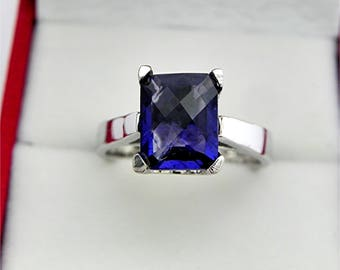 AAAA Iolite Cushion Checkerboard cut Gem quality 10x8mm  2.33 Carats   in a 14K White gold cathedral style engagement ring.  0809