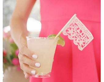 """Cupcake topper or drink stirrer Laser cut Heart DRINK mini flags  (tiny 2"""" x 2"""" papel picado) tissue paper cocktail drink umbrella flag"""