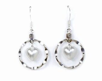 HALF PRICE SALE Vintage silver pearl heart dangle hoop earrings