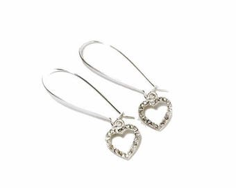 HALF PRICE SALE Vintage clear crystal silver heart charm dangle earrings