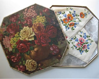 Unusual and Gorgeous Boxed Set of Handkerchiefs, 1940, Floral Octagon Box, Three Handkerchiefs