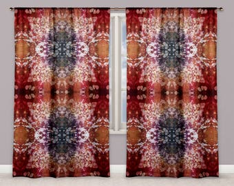 Boho Red Intricate Graphic Batik Window Curtains, Modern Hippie Style Stained Glass Pattern Drapes