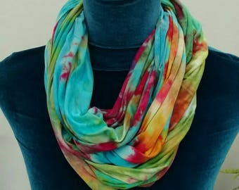 Turquoise Raspberry Green and Gold Rayon Jersey Infinity Scarf