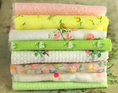Vintage Flocked Fabric Bundle - Pastel Baby Doll Clothes Hair Bows -  Dotted Swiss Sewing Quilting - Vintage Floral Sewing Fabric