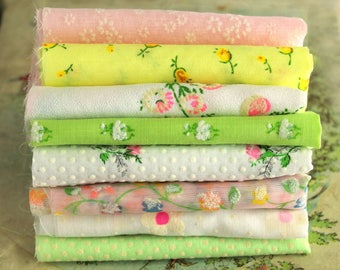 RESERVED for MONI Vintage Flocked Fabric Bundle - Pastel Baby Doll Clothes Hair Bows -  Dotted Swiss Sewing Quilting - Vintage Floral Sewing