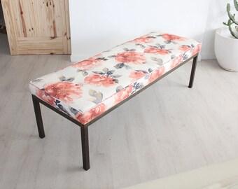 Hollywood Regency Gold Brass Base Floral Upholstered Bench Seat