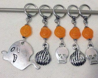 Halloween Spooks Knitting Stitch Markers Ghosts and Ghouls Set of 5/SM80A