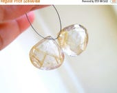 Deep Discount Sale Golden Rutilated Quartz Gemstone Faceted Heart 16mm 2 beads