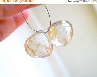 Deep Discount Sale Golden Rutilated Quartz Gemstone Faceted Heart 16mm 2 beads