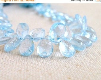 Deep Discount Sale Sky Blue Topaz Gemstone Briolette Faceted Pear Teardrop Gemstone 9.5mm 6 beads