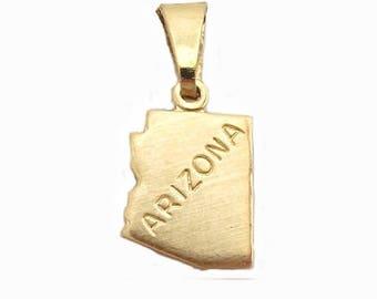 """Arizona State Necklace.  Raw Brass.  18"""" Gold Chain. Tiny."""