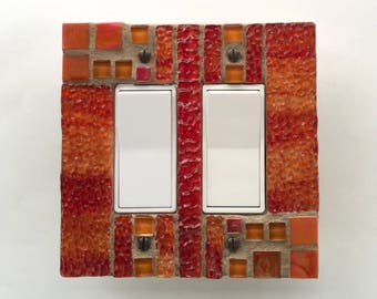 Red Glass Switch Plate, Orange Light Switch Cover, Decorative Switch Cover, Wall Switch Plate, Stained Glass, Outlet Cover, Dimmer, 8720