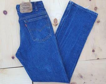 "Vintage Levi's 517 Jeans  //  Vtg 80s Levi Orange Tab Distressed Indigo Boot Cut Jeans  //  30.5"" waist"