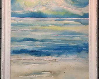 Ocean Beach Original Watercolor and Coffee Painting with Glow in the Dark, Gulf Shores, Alabama, Mexico, Sea