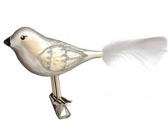 """Matte White Blown Glass Clipping Christmas Bird ~ Czech Republic ~ 5"""" long HLC116"""
