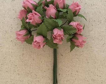 Fabric Millinery Flowers From Austria 12 Dusty Rose Rose Buds #A40
