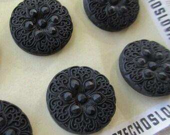 6 Vintage 1970s Czech Glass Buttons Handmade Large Black Glass Czechoslovakia  #130