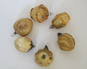 Vintage Gold Glass Gitter Christmas Tree Ornaments West Germany Poland