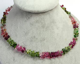18K Solid Gold Green Pink Tourmaline Teardrop Bead 16.5 inch Necklace