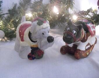 Eight Ceramic Bobble Head Dog Christmas Ornaments