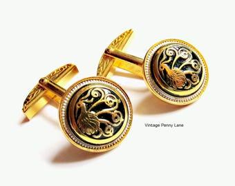 Vintage Damascene Cufflinks, Gold Cuff Links
