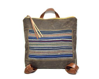 bucket backpack • guatemalan textile - waxed canvas backpack • vintage guatemalan cotton - striped global textile - brown waxed canvas