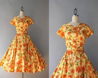 1950s Dress Set / Vintage 50s Golden Yellow Floral Dress Set / 50s Circle Skirt and Blouse Set S small
