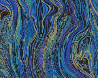 Marbling Metallic Peacock Palazzo Timeless Treasures Fabric 1 yard