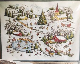 Vintage 1976 Winter's Delight crewel kit needlework Christmas
