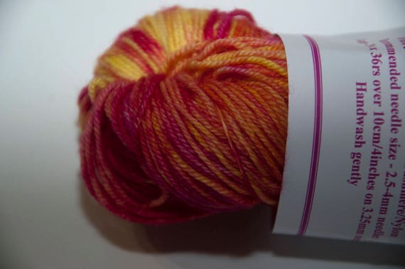Hand-Dyed Yarn in Flame Sock Yarn Merino/Cashmere/Nylon Lush Base