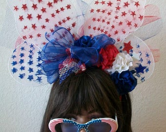 Patriotic 4th of July Red White and Blue Star Butterfly Headband, Hat, Stars, Wings Bows, Netting