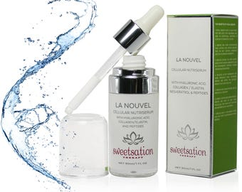 Sweetsation Therapy, LaNouvel Cellular Hyaluronic acid Nutri Serum with Collagen / Elastin, Peptides, Dragon's Blood & Resveratrol 1oz