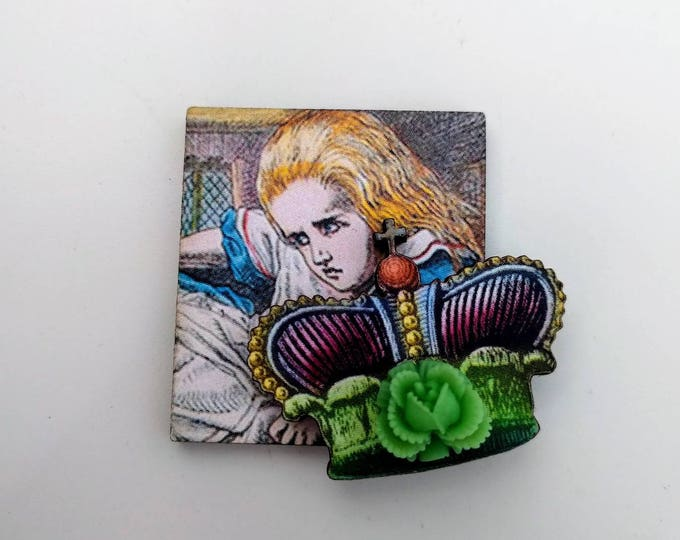 Alice in Wonderland Brooch, Tenniel Illustration, Altered Art, Mixed Media, Wood Jewelry
