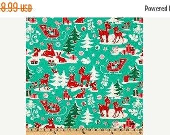 Retro christmas fabric | Etsy