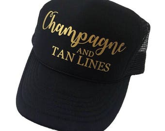 Bridesmaids Hats, Champagne Trucker Hat, Champagne and Tan Lines, Summer Hat, Women's Hat, Bride Hats, Drinking Hat, Women's Trucker Hat