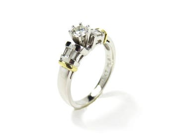Vintage Platinum Wedding Ring with Diamonds and 18k Yellow Gold Accents , Size 6