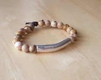 beaded bracelet for women, boho jewelry, jasper bracelet, silver bar bracelet, gift mom, birthday gift for teen girl, gift idea for,