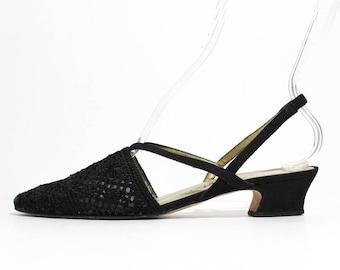 1990s Black Crochet Slingback Sandals