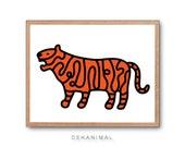ANIMAL MAP Tiger Art Print, Safari Animal Print, Modern Home decor, Nursery room Art, Safari Nursery art, Animal Illustration, Kids room art