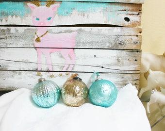 Aqua Kugel Glass Ornament Holiday Christmas Vintage