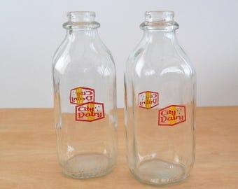 Vintage Milk Bottle • Vintage City Dairy • Glass Milk Bottles