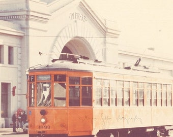 SALE California photography, San Francisco trolley, Fishermans Wharf, pier 35, pumpkin orange streetcar, muni car, travel art, urban city, t