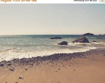 SALE landscape, beach photography, Big Sur photo, ocean waves, seascape, rocks, coastal, brown blue, earth tones, beach decor, California tr