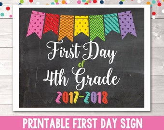 Printable First Day of 4th Grade Sign Instant Download Printable PDF for 1st Day of Fourth Grade Glitter Bunting 2017-2018 School Year