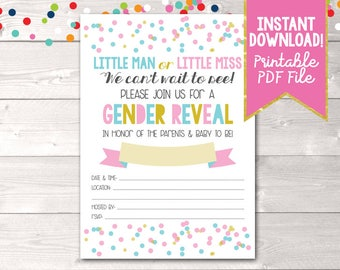 Gender Reveal Invitation Little Man or Little Miss in Pink & Blue Instant Download Gender Reveal Party Invite with Polka Dot Confetti